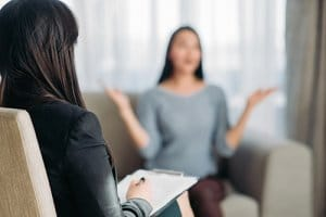 woman in a Dialectical Behavioral Therapy or DBT session